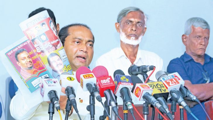 Western Province Chief Minister Isura Devapriya speaking at yesterday's press conference.  Picture by Saman Sri Wedage