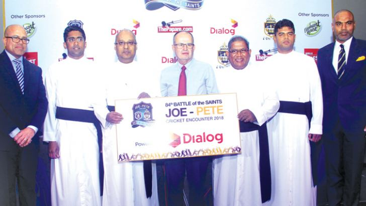 Dialog Enterprise group chief officer Jeremy Huxtable (centre) with Rev.Fr.Rector (St.Joseph's College) and Rev.Fr.Rector Trevor Martin (St.Peter's College). Terrence Fernando (joint committee member) Rev. Fr.Milan Bernard (Prefect of game's SJC) Rev.Fr.Thilina Pathum (Sport's Coordinator SPC) and Nirmal de Silva (joint committee member) are also in the picture. Pictures by Chaminda Niroshana