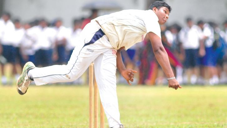 Wesleyite Movin Subasinghe who captured five wickets for 48 against Royal in their 125th Annual Cricket encounter for the Sir Frank Gunesekara Shield at Campbell Park yesterday in action.   Picture by Susantha Wijegunasekera