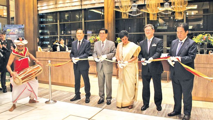 Opening of the Sri Lanka food festival at the Millennium Seoul Hilton. (From left) President, Buddhist Broadcasting System Sang-Shin Sun, Chairman, Korea World Travel Fair Jung Mok Shin; Sri Lanka's Ambassador to the Republic of Korea Manisha Gunasekera; General Manager, Millennium Seoul Hilton Jay Jong Hun Lee; and Vice Chairman, Association of High Potential Enterprises Oh Heun Woo.