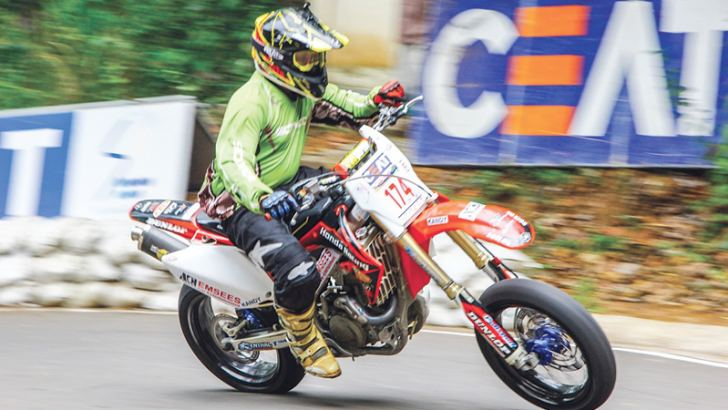 Sachira Rajakaruna, the fast on two wheels at Eliyakanda in action