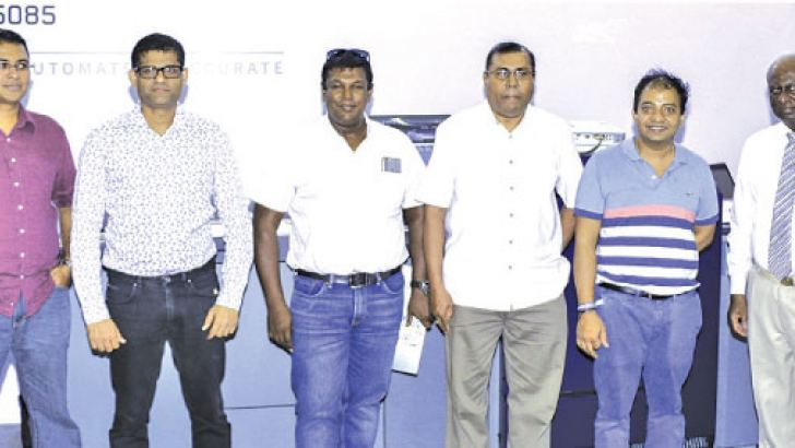 The first five owners of the Konica Accurio Press C6100/C6085 (From Left to Right) : Francis Chua - Country Sales Manager, Konica Minolta Business Solution Asia; Rohana Navaratne, Assistant Vice president (Aitken Spence Printing and Packaging); Niroon Buddhasiri, Managing Director (LeafD Pvt Ltd); Dinesh Rajawasan, Chairman (ANIM8 Pvt Ltd); Prasanna Karunathilake, Managing Director (Aitkenspence Printing & Packaging); Dhammika Siriwardena, Managing Director (Design Logics Pvt Ltd); Jayantha Darmadasa, Chair