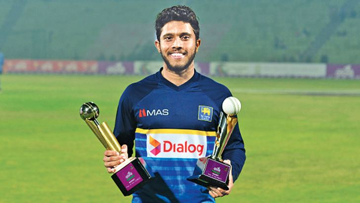 Kusal Mendis with Man Of the Series and Man Of the Match awards which he won in the B'desh T20 series.