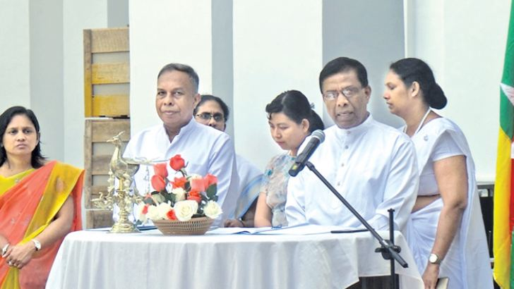 Sri Lankan Ambassador to Myanmar K. W. N. D. Karunaratne addressing the ceremony.