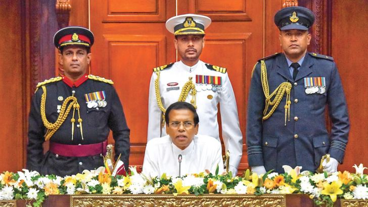 President Maithripala Sirisena addressing the new Ministers and State and Deputy Ministers at the Presidential Secretariat yesterday.