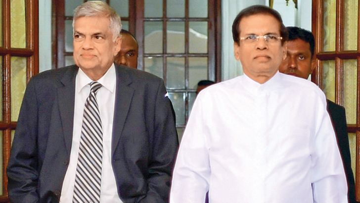 President Maithripala Sirisena and Prime Minister Ranil Wickremesinghe arriving at the Presidential Secretariat for the Cabinet reshuffle held yesterday. Pictures by Sudath Silva
