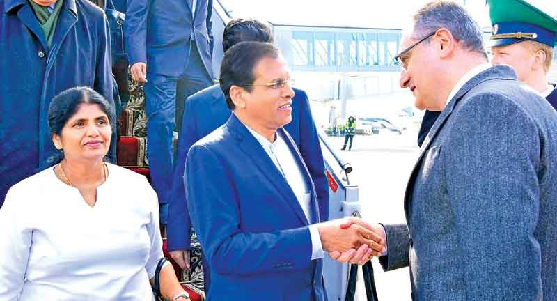 President Maithripala Sirisena who is on a State visit to Russia being received at the Domodedovo International Airport in Moscow by Deputy Minister of Foreign Affairs Igor Morgulov, Chief of Protocol and other high officials on behalf of the Russian Federation. Picture by Sudath Silva